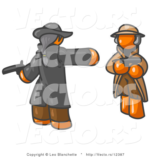 Vector of Orange Guy Challenging Another Man to a Duel with Guns