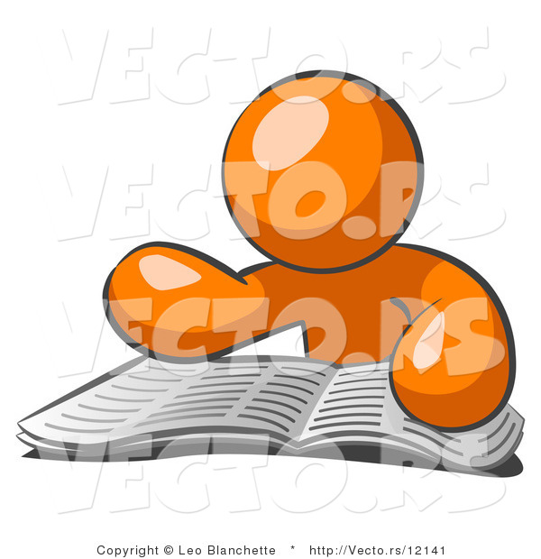 Vector of Orange Guy Character Seated and Reading the Daily Newspaper to Brush up on Current Events