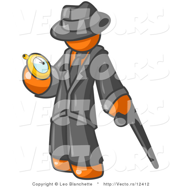 Vector of Orange Guy Checking His Pocket Watch