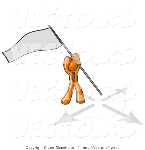 Vector of Orange Guy Claiming Territory or Capturing the Flag