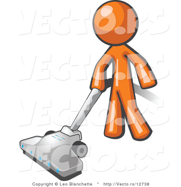 Vector of Orange Guy Cleaning with a Canister Vacuum