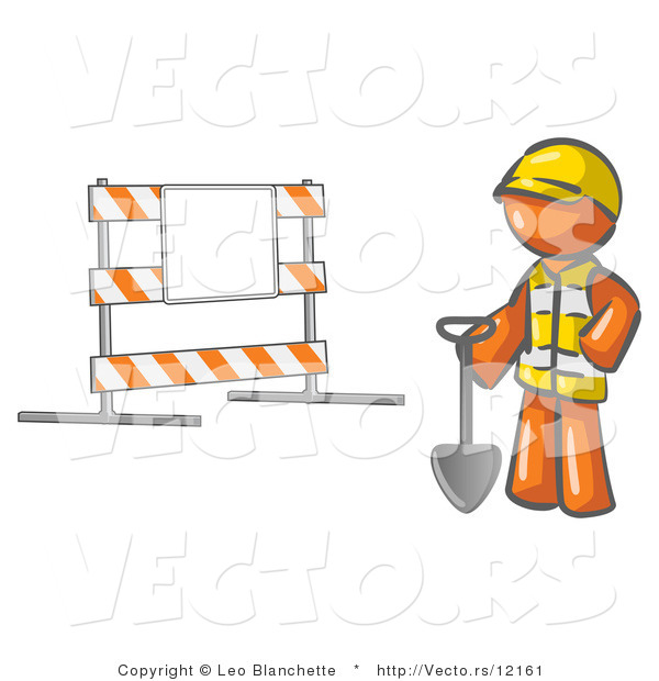 Vector of Orange Guy Construction Worker in a Yellow Vest and Hardhat, Holding a Shovel and Standing by a Road Block Sign