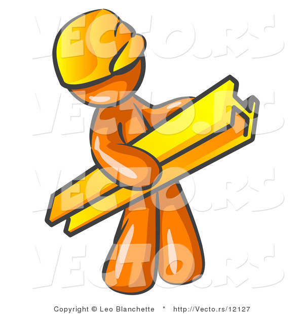 Vector of Orange Guy Construction Worker Wearing a Hardhat and Carrying a Beam at a Work Site