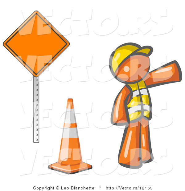 Vector of Orange Guy Construction Worker Wearing a Vest and Hardhat, Pointing While Standing by a Cone and Sign at a Road Work Site