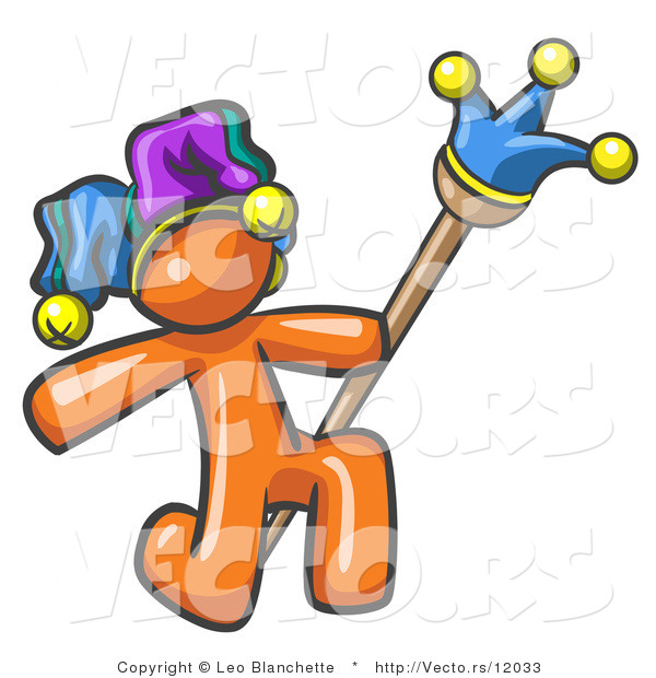 Vector of Orange Guy Court Jester Kneeling