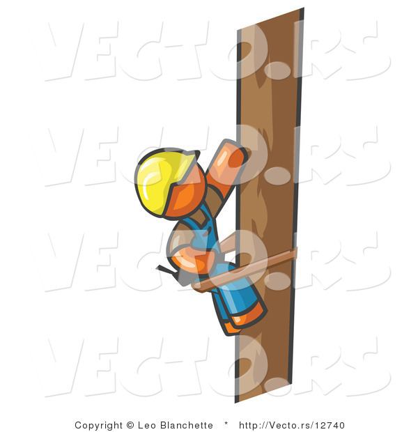 Vector of Orange Guy Design Masccot Worker Climbing a Phone Pole