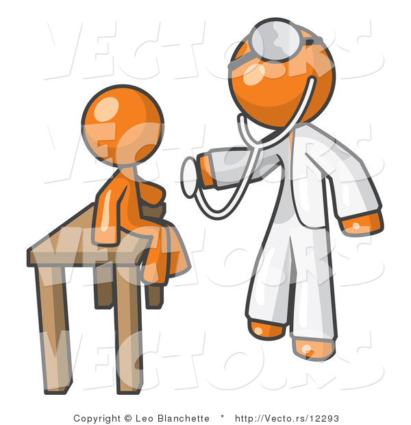 Vector of Orange Guy Doctor Examining a Child