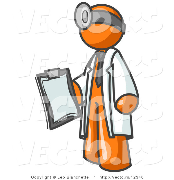 Vector of Orange Guy Doctor Holding a Clipboard