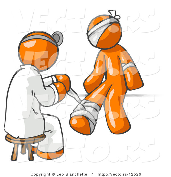 Vector of Orange Guy Doctor in a Lab Coat, Sitting on a Stool and Bandaging an Orange Person That Has Been Hurt on the Head, Arm and Ankle