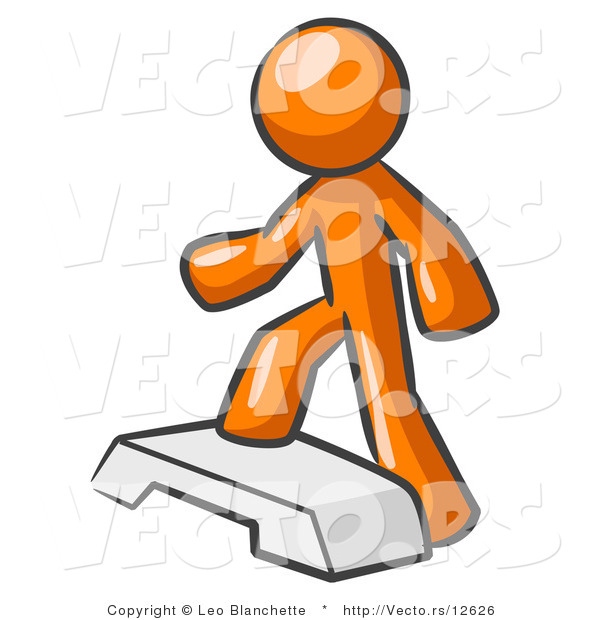 Vector of Orange Guy Doing Step Ups on an Aerobics Platform