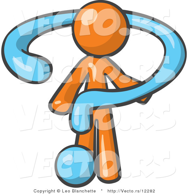 Vector of Orange Guy Draped in a Blue Question Mark