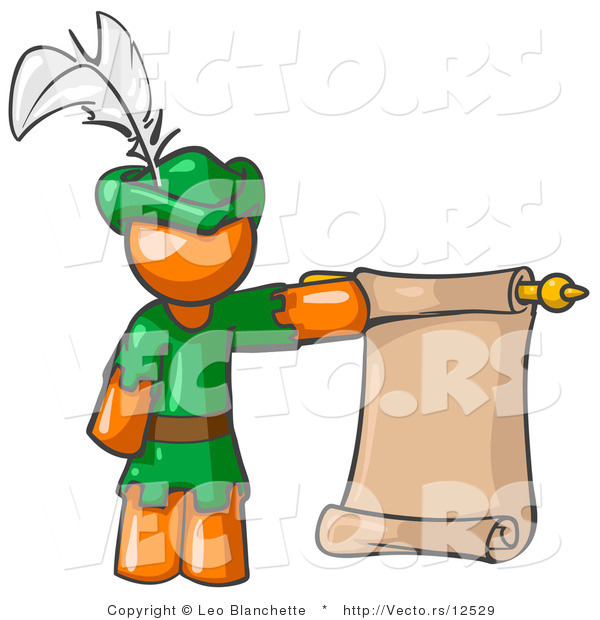Vector of Orange Guy Dressed As Robin Hood with a Feather in His Hat, Holding a Blank Scroll and Acting As a Pageboy