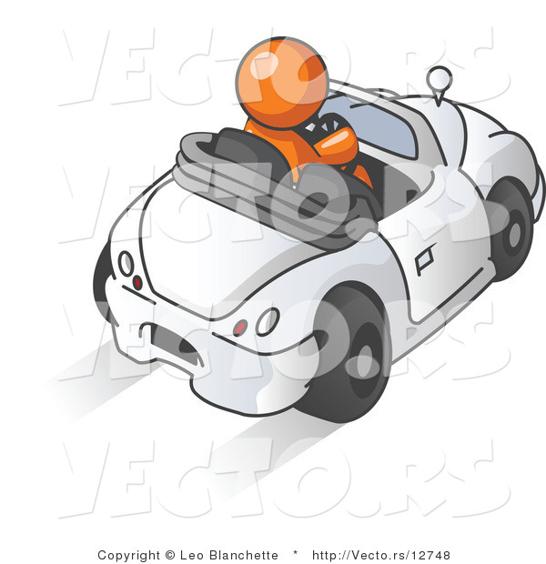 Vector of Orange Guy Driving a Convertible Car
