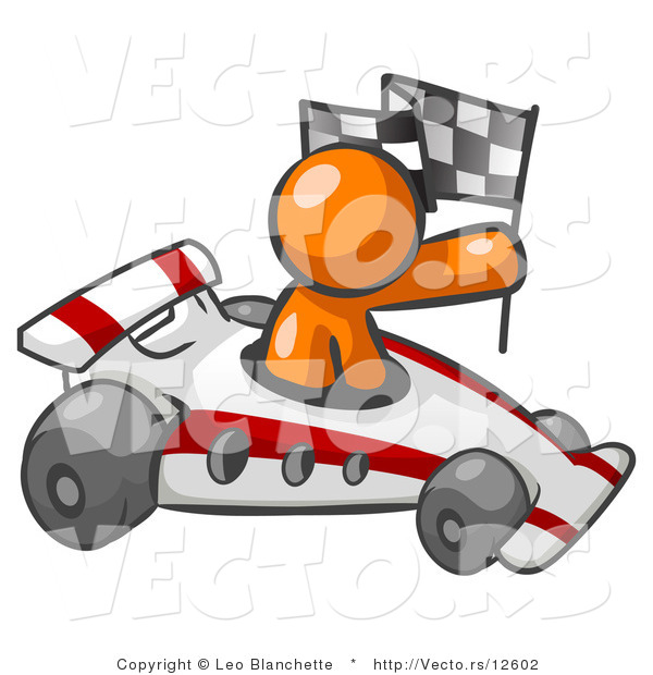 Vector of Orange Guy Driving Fast Race Car While Holding Checkered Flag