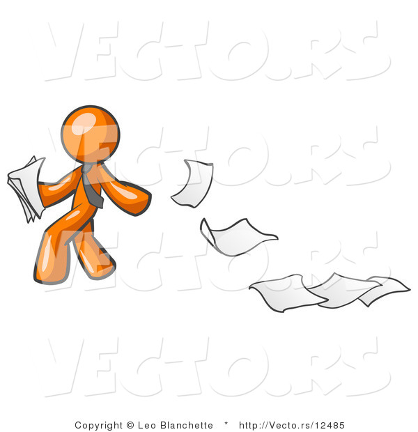 Vector of Orange Guy Dropping White Sheets of Paper on a Ground and Leaving a Paper Trail, Symbolizing Waste
