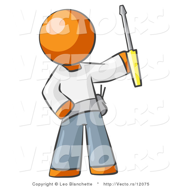 Vector of Orange Guy Electrician Holding a Screwdriver