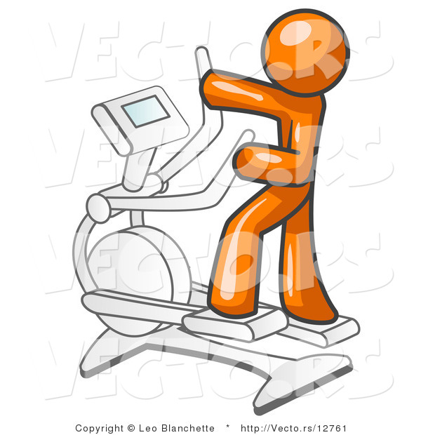Vector of Orange Guy Exercising on a Cross Trainer in a Gym