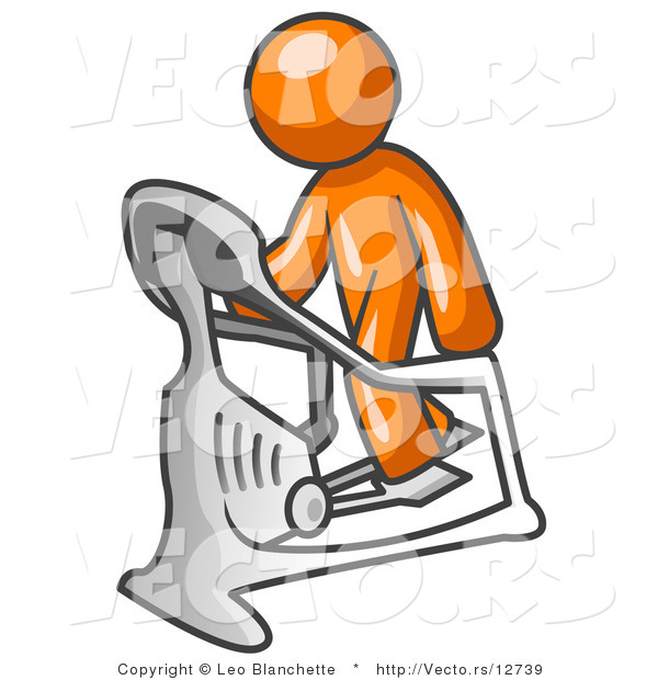 Vector of Orange Guy Exercising on a Stair Climber During a Cardio Workout in a Fitness Gym