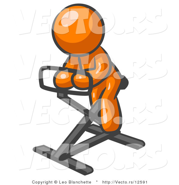 Vector of Orange Guy Exercising on Stationary Bicycle