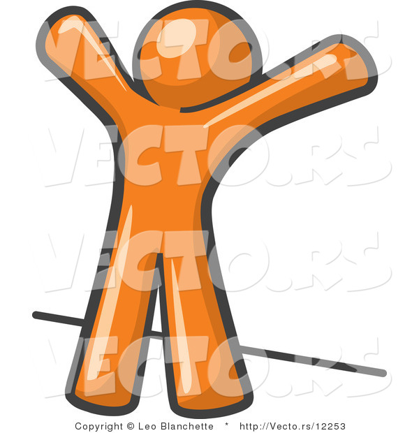 Vector of Orange Guy Facing Wall, His Arms Up, Prepared to Be Searched by Law Enforcement