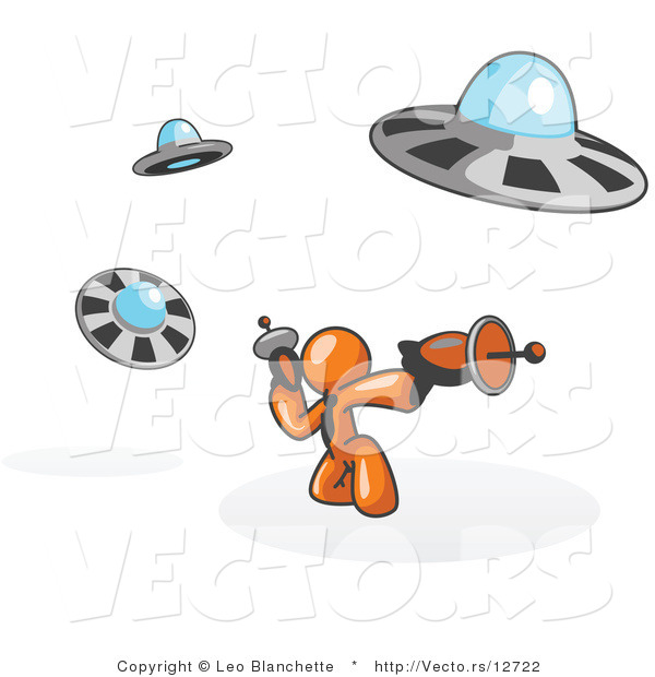 Vector of Orange Guy Fighting off UFO's with Weapons