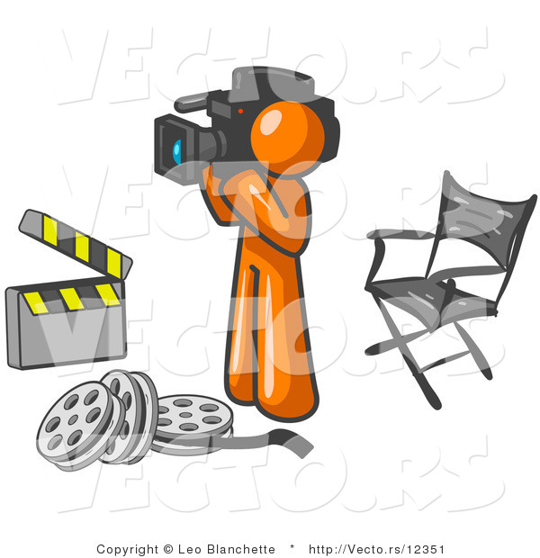 Vector of Orange Guy Filming a Movie Scene with a Video Camera in a Studio