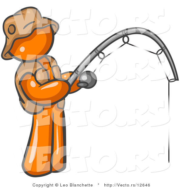 Vector of Orange Guy Fishing