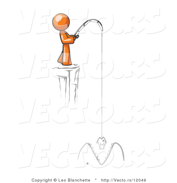 : Vector of Orange Guy Fishing on a Cliff