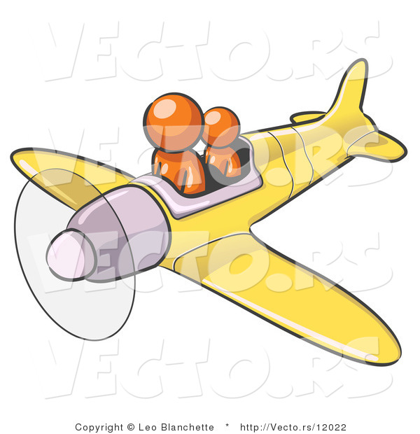 Vector of Orange Guy Flying a Plane with a Passenger