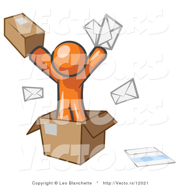 Vector of Orange Guy Going Postal with Parcels and Mail
