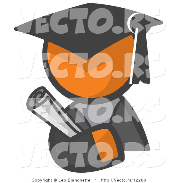 Vector of Orange Guy Graduate Holding a Diploma