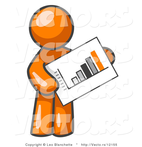 Vector of Orange Guy Holding a Bar Graph Displaying an Increase in Profit