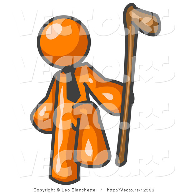 Vector of Orange Guy Holding a Cane