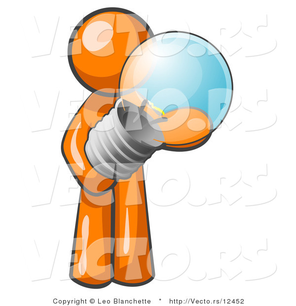 Vector of Orange Guy Holding a Glass Electric Lightbulb, Symbolizing Utilities or Ideas