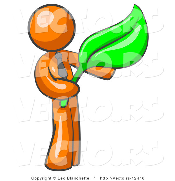 Vector of Orange Guy Holding a Green Leaf, Symbolizing Gardening, Landscaping or Organic Products