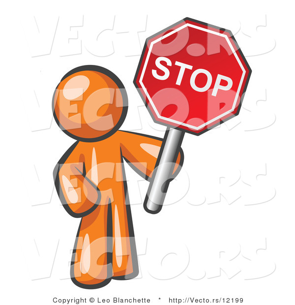 Vector of Orange Guy Holding a Red Stop Sign