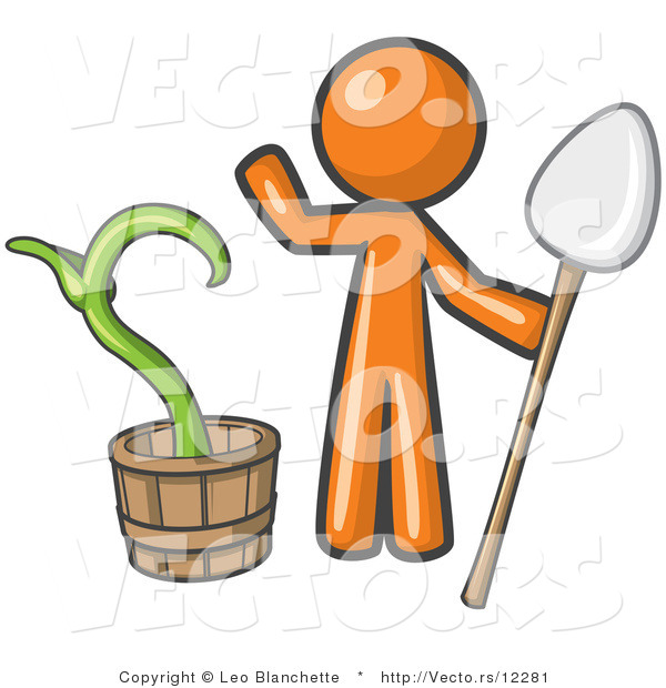 Vector of Orange Guy Holding a Shovel by a Potted Plant