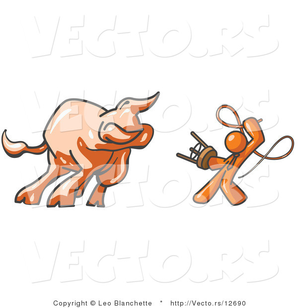 Vector of Orange Guy Holding a Stool and Whip While Taming a Bull, Bull Market