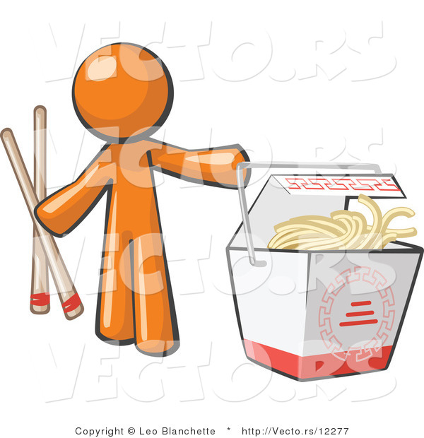 Vector of Orange Guy Holding Chopsticks by a Chinese Takeout Container