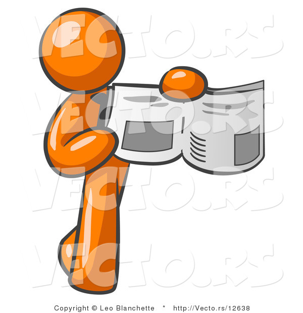Vector of Orange Guy Holding Newspaper and Pointing to an Article