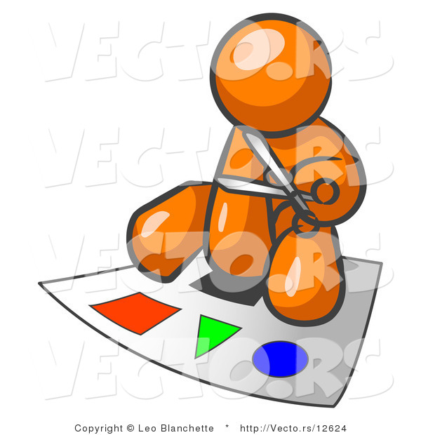 Vector of Orange Guy Holding Pair of Scissors and Sitting on a Large Poster Board with Colorful Shapes
