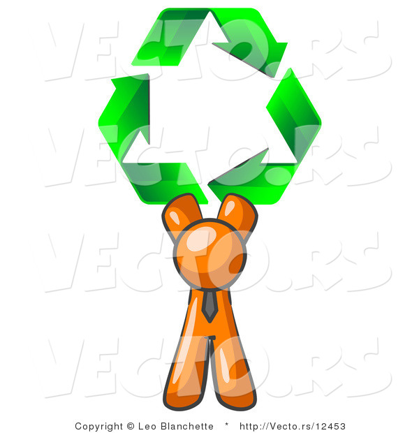 Vector of Orange Guy Holding up Three Green Arrows Forming a Triangle and Moving in a Clockwise Motion, Symbolizing Renewable Energy and Recycling