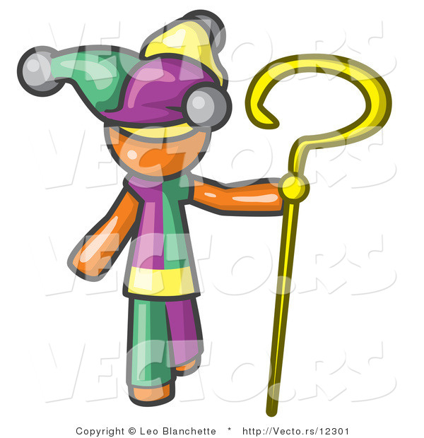 Vector of Orange Guy in a Jester Costume, Holding a Yellow Staff