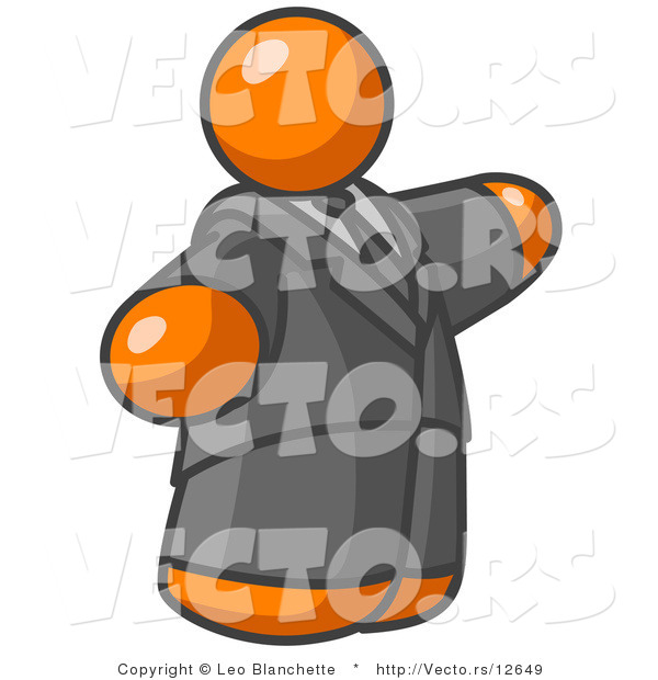 Vector of Orange Guy in a Suit and Tie