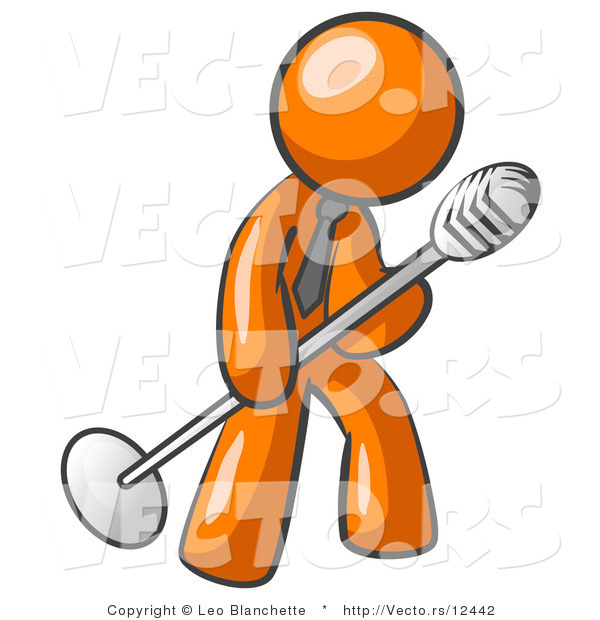 Vector of Orange Guy in a Tie, Singing Songs on Stage During a Concert or at a Karaoke Bar While Tipping the Microphone