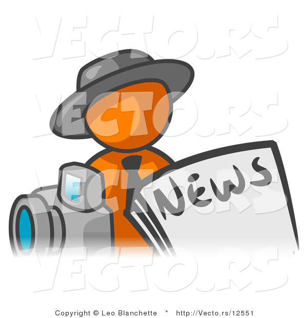 Vector of Orange Guy in Front of Newspaper and a Camera