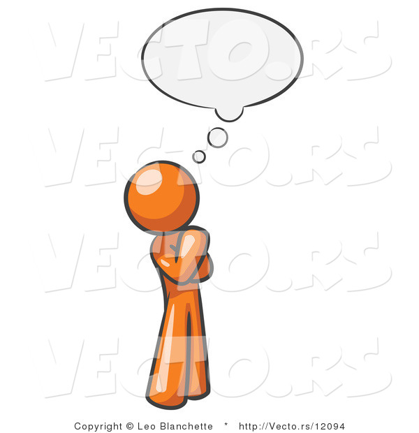 Vector of Orange Guy in Thought with a Bubble
