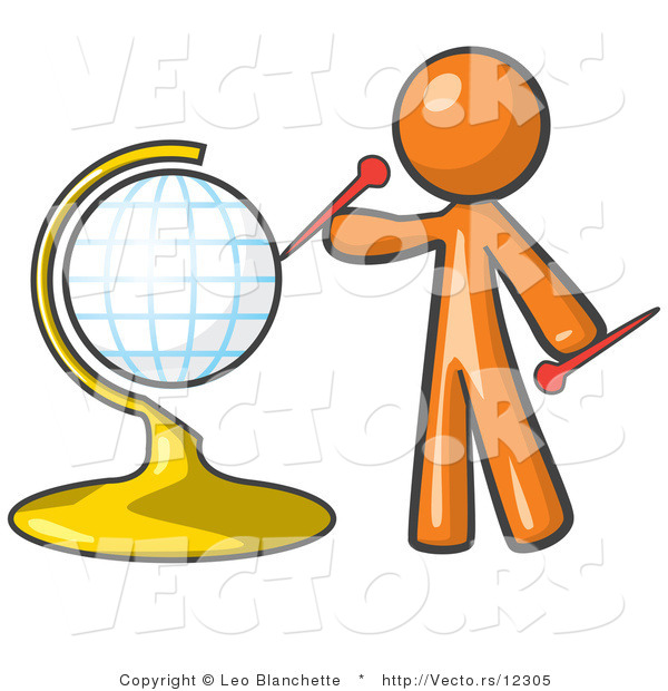 Vector of Orange Guy Inserting Pins on a Globe