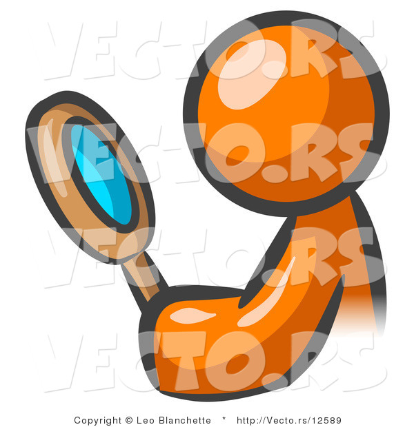 Vector of Orange Guy Inspecting with a Magnifying Glass