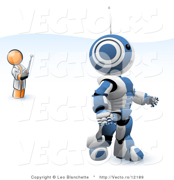 Vector of Orange Guy Inventor Operating an Blue Robot with a Remote Control